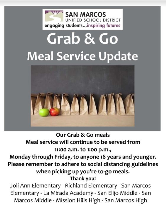 Grab and go 11 am- 1:00 p.m.